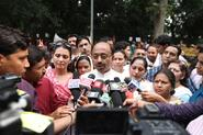 Shri Vijay Goel addresses press at protest by Mahila Morcha